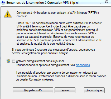 capture d'écran erreur 807 connexion vpn